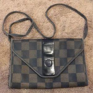 Vintage fendi crossbody checkered purse bag